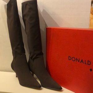 Donald J Pliner Dark Brown Crepe Boot size 8 med